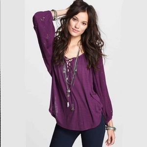 Free People Golden Nuggets Peasant Top Purple XS